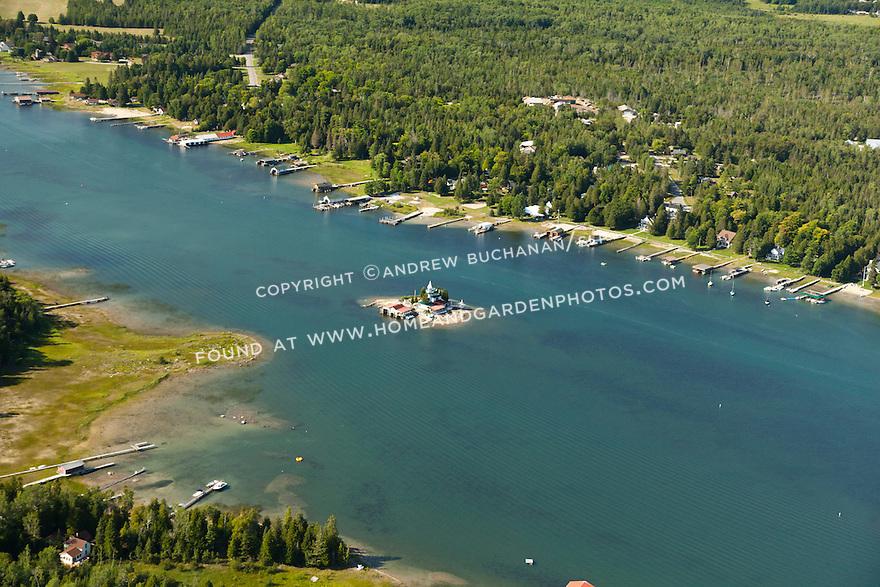 Dollar Island and Snows Channel area in Les Cheneaux Area of Lake Huron near Cedarville, MI