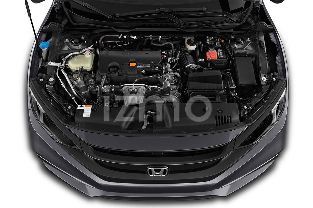 Car stock 2019 Honda honda LX 4 Door Sedan engine high angle detail view
