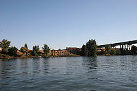 California Delta Waterway and the river view of Old Sacramento Downtown.