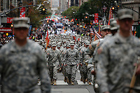Marines take part during the 2015 NYC Veterans Day Parade in New York 11.11.2015.The nation's largest Veterans Day Parade will be held today in New York City. Kent Betancur/VIEWpress.