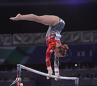 England's Ruby Harrold performs her routine in the gymnastics artistic women's uneven bars final<br /> <br /> Photographer Chris Vaughan/CameraSport<br /> <br /> 20th Commonwealth Games - Day 8 - Thursday 31st July 2014 - Gymnastics - The SSE Hydro - Glasgow - UK<br /> <br /> © CameraSport - 43 Linden Ave. Countesthorpe. Leicester. England. LE8 5PG - Tel: +44 (0) 116 277 4147 - admin@camerasport.com - www.camerasport.com