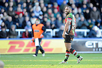 Jordan Turner-Hall of Harlequins during the Aviva Premiership match between Harlequins and Newcastle Falcons at the Twickenham Stoop on Saturday 15th February 2014 (Photo by Rob Munro)