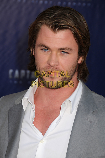 "Chris Hemsworth.Premiere of ""Captain America: The First Avenger"" held at The El Capitan Theatre in Hollywood, California, USA..July 19th, 2011.headshot portrait grey gray white stubble beard facial hair .CAP/ADM/BP.©Byron Purvis/AdMedia/Capital Pictures."