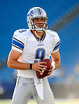 3 September 2009:  Detroit Lions' rookie quarterback Matthew Stafford warms up prior to a pre-season game against the Buffalo Bills at Ralph Wilson Stadium in Orchard Park, New York. The Lions defeated the Bills 17-6...Mandatory Photo Credit: Ed Wolfstein Photo