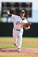 Oakland Athletics pitcher Joel Seddon (59) during an Instructional League game against the San Francisco Giants on October 15, 2014 at Papago Park Baseball Complex in Phoenix, Arizona.  (Mike Janes/Four Seam Images)