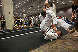 USA, Oahu, Hawaii, Jujitsu Martial Arts fighter Keith Chang grapples with an opponent at the ICON grappling tournament in Honolulu