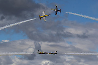 The Breitling Jet Team, flying Aero L-39 Albatros trainers, make opposing solo passes during an airshow in Hillsboro, Oregon, in August of 2016