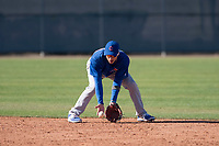 Chicago Cubs second baseman Jhonny Bethencourt (12) during a Minor League Spring Training game against the Los Angeles Angels at Sloan Park on March 20, 2018 in Mesa, Arizona. (Zachary Lucy/Four Seam Images)