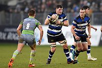 James Phillips of Bath Rugby in possession. Anglo-Welsh Cup match, between Bath Rugby and Newcastle Falcons on January 27, 2018 at the Recreation Ground in Bath, England. Photo by: Patrick Khachfe / Onside Images