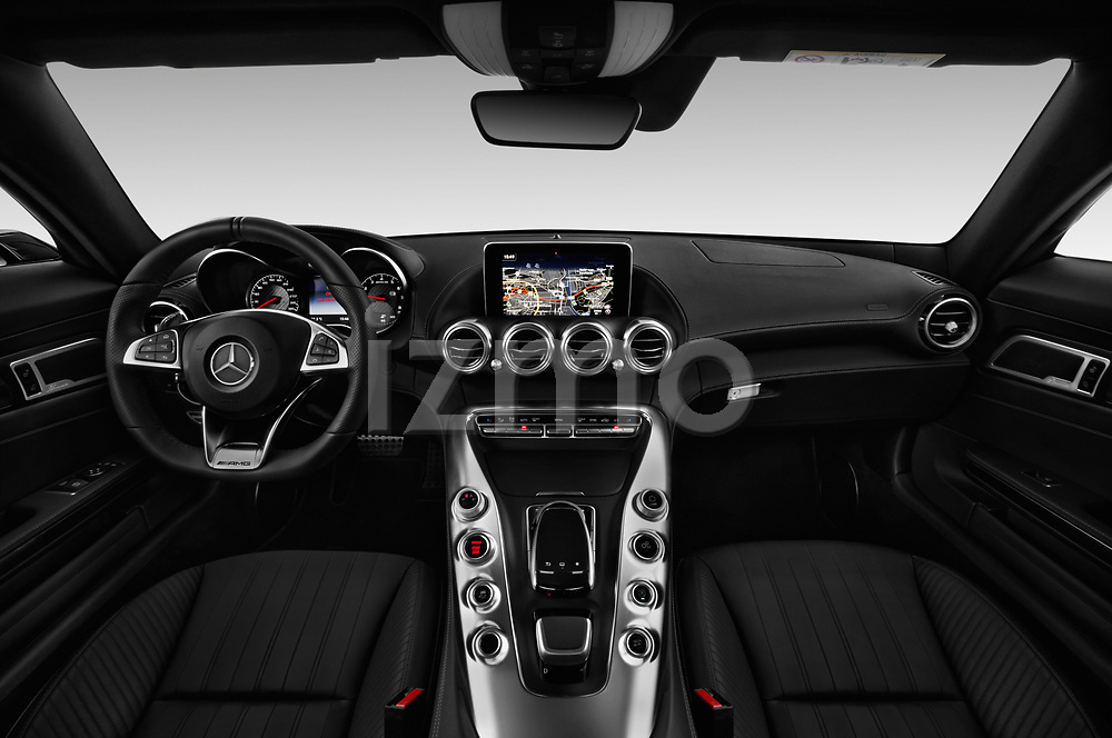 Stock photo of straight dashboard view of 2017 Mercedes Benz AMG-GT - 3 Door Coupe Dashboard