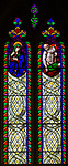 Stained glass window in church of Saint Margaret of Antioch, Leigh Delamere, Wiltshire, England, UK by Wilmshurst 1846 Deposition