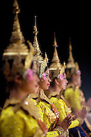 June 7th, 2008_Phnom Penh, Cambodia_ Dance troop members from the National School of Fine Arts, performe the newly revived work of Preah Anruch Preah Neang Ossa.  It has been some 50 years, since this classical Khmer dance piece was performed publicly and is being produced by the Amrita Performing Arts Association.   Photographer: Daniel J. Groshong/Tayo Photo Group