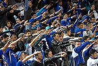 BOGOTA - COLOMBIA -17 -10-2015: Hinchas de Millonarios animan a su equipo, durante partido entre Millonarios y Jaguares FC, por la fecha 16 de la Liga Aguila II-2015, jugado en el estadio Nemesio Camacho El Campin de la ciudad de Bogota.  / Fans Millonarios cheer for their team, during a match between Millonarios and Jaguares FC, for the date 16 of the Liga Aguila II-2015 at the Nemesio Camacho El Campin Stadium in Bogota city. Photo: VizzorImage / Luis Ramirez / Staff.