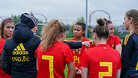 20191101 - Tubize: Belgian coach Aline Zeler with her players  pictured during the international friendly match between Red Flames U16 (Belgium) and Norway U16 on 1 November 2019 at Belgian Football Centre, Tubize. PHOTO:  SPORTPIX.BE | SEVIL OKTEM