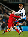 Lucas Leiva of Liverpool clashed into Jack Colback of Newcastle United - English Premier League - Newcastle Utd vs Liverpool - St James' Park Stadium - Newcastle Upon Tyne - England - 6th December 2015 - Picture Simon Bellis/Sportimage