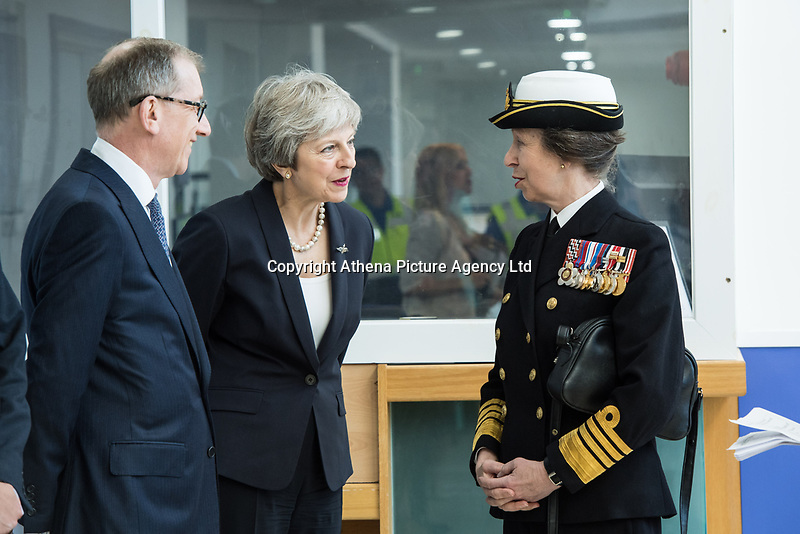 Today, HRH The Princess Royal meets Rt Hon Theresa May, Prime Minister and Mr Phillip May at The Venue Cymru, Llandudno to celebrate Armed Forces Day.<br /> <br /> Saturday 30th June 2018, saw hundreds of events held to mark the tenth annual Armed Forces Day, including parades and ceremonies right across the country. Men and women from the Royal Navy, British Army and Royal Air Force, both regulars and reserves, are being recognised alongside the wider defence family including cadets and veterans.<br /> <br /> The national event in Llandudno, North Wales was attended by Her Royal Highness Princess Anne, the Princess Royal representing The Queen and the Royal Family, the Prime Minister Theresa May and the Defence Secretary Gavin Williamson, along with other senior politicians. <br /> <br /> A parade of around 1,000 serving personnel, veterans, cadets and marching bands set off from the Llandudno War Memorial at 11am to signal the start of the Armed Forces Day celebrations.<br /> <br /> Also present were many veterans that make-up the estimated 2.56 million Armed Forces veteran community living in the UK. Young Cadets were also present; together the Sea, Army, and Air cadets have almost 100,000 members.