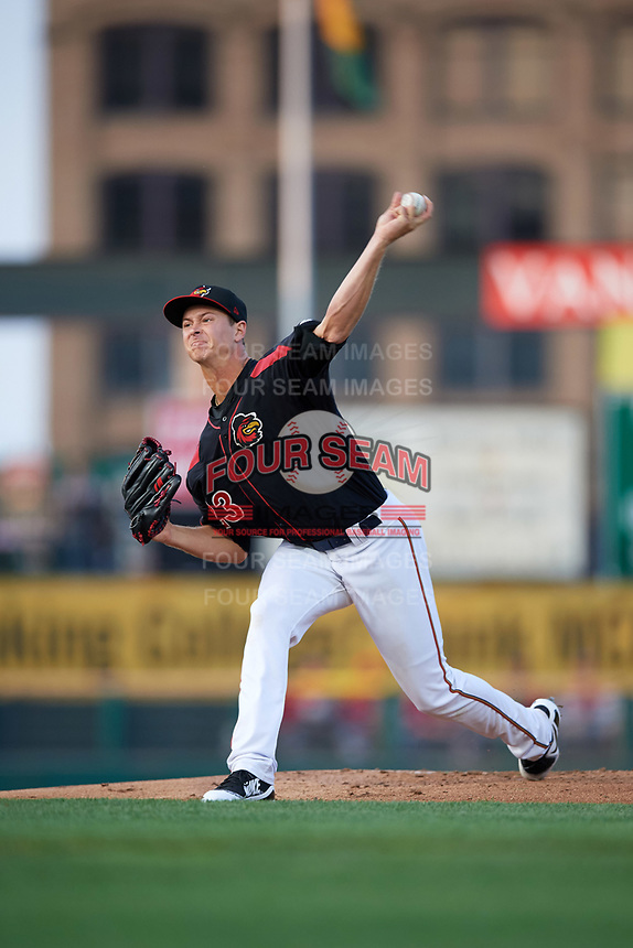 Rochester Red Wings starting pitcher Stephen Gonsalves (23) delivers a pitch during a game against the Buffalo Bisons on August 25, 2017 at Frontier Field in Rochester, New York.  Buffalo defeated Rochester 2-1 in eleven innings.  (Mike Janes/Four Seam Images)