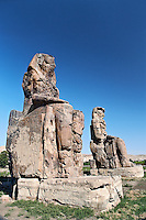 Colossi of Memnon, two statues of Pharoah Amenhotep III on the West Bank, near modern day Luxor, or ancient Thebes.