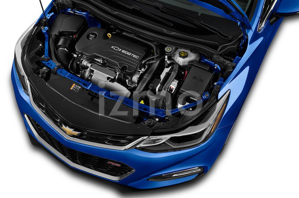Car Stock 2018 Chevrolet Cruze Premier 4 Door Sedan Engine  high angle detail view