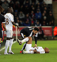Jose Manuel Jurado of Watford sees to injured Andre Ayew of Swansea during the Barclays Premier League match between Swansea City and Watford at the Liberty Stadium, Swansea on January 18 2016