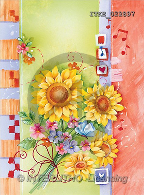 Isabella, FLOWERS, paintings, sunflowers, notes(ITKE022897,#F#) Blumen, flores, illustrations, pinturas ,everyday