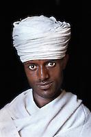 Lalibela, Omo Valley, Ethiopia 2006. Priest (Melese Anawte) at Bet Meskel church, Ethiopia, 2006