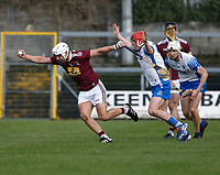2nd February 2020; TEG Cusack Park, Mullingar, Westmeath, Ireland; Allianz Division 1 Hurling, Westmeath versus Waterford; Robbie Greville (Westmeath) holds on to the ball under pressure from Darragh Lyons (Waterford)