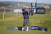5th October 2017, The Old Course, St Andrews, Scotland; Alfred Dunhill Links Championship, first round; Amateur Moss Ngoasheng in colourful attire as he tees off on the thirteenth hole during the first round at the Alfred Dunhill Links Championship