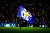 8th January 2020; King Power Stadium, Leicester, Midlands, England; English Football League Cup Football, Carabao Cup, Leicester City versus Aston Villa; A Leicester City flag flies before kick off - Strictly Editorial Use Only. No use with unauthorized audio, video, data, fixture lists, club/league logos or 'live' services. Online in-match use limited to 120 images, no video emulation. No use in betting, games or single club/league/player publications