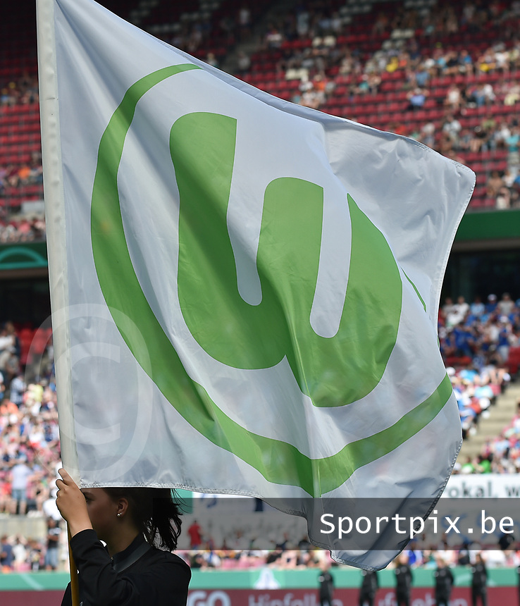 20170527 - KOELN , GERMANY : Wolfsburg's flag pictured before the final of German Women's Cup 2017 - Pokal Final Frauen , a soccer women game between SC Sand and holders VfL Wolfsburg  , at the Rhein Energie Stadion , saturday 27 th Mayl 2017 . PHOTO SPORTPIX.BE | DIRK VUYLSTEKE