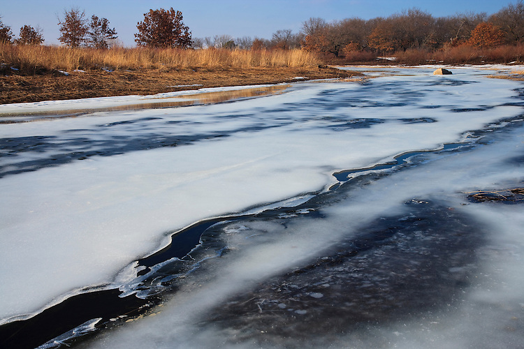 Ice patterns in the Dead River; Illinois Beach State Park, IL
