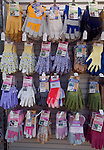 Gardening is a major leisure industry as suggested by this display rack of garden gloves in different styles and sizes