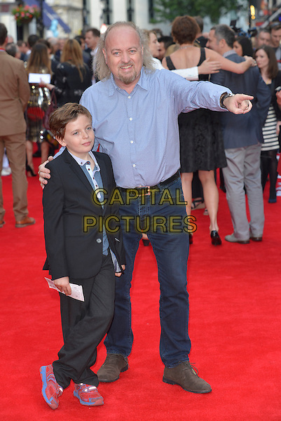 guest &amp; Bill Bailey<br /> 'Charlie And The Chocolate Factory' press night, Theatre Royal, Drury Lane, London, England.<br /> 25th June 2013<br /> full length blue shirt jeans denim black suit hand arm pointing goatee facial hair kid<br /> CAP/PL<br /> &copy;Phil Loftus/Capital Pictures