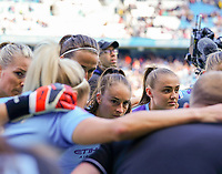 20190907 – MANCHESTER, ENGLAND: Manchester City's Tess Wullaert and Georgia Stanway are pictured before the match between Manchester City Women and Manchester United Women, first game for both of the teams in the the Barclays FA Women's Super League , Saturday  7th September 2019 at the Ethiad Stadium, Manchester. PHOTO SPORTPIX.BE | Sevil Oktem