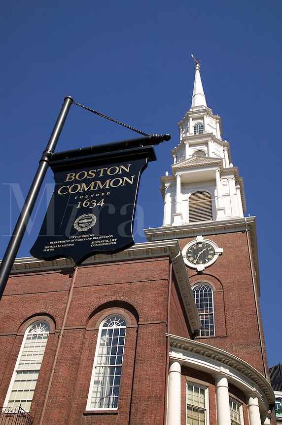 Boston Common sign and Park Street Church Boston MA