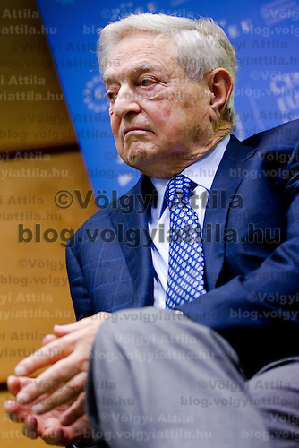George Soros chairman of the Soros Fund, founder and honorary chairman of the Central European University waits to deliver a speech about Reflexivity at Work in the European Union at the Central European University in Budapest, Hungary on November 03, 2011. ATTILA VOLGYI