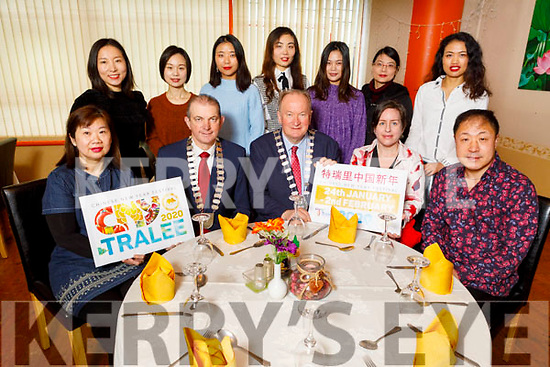 Launching the 1st Chinese New Year Festival in the Tamarind Restaurant on Tuesday.<br /> Seated l to r: Angela Ong (Tamarind), Kevin McCarthy (President of Chamber of Alliance), Cllr Jim Finucane (Mayor of Tralee), Angie Bailey and Chris Sun.