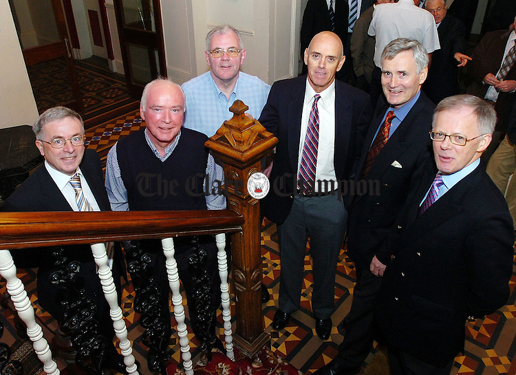 L-R Paddy McKenna,Frank Ryan,Michael Nealon,Kevin Merry, Paschal Seymour and John O'Connell who all travelled home from abroad to the Flannans Class of 66 reunion.Pic Arthur Ellis.