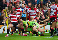 Northampton Saints' Mike Haywood scores his sides third try <br /> <br /> Photographer Ashley Western/CameraSport<br /> <br /> Aviva Premiership - Gloucester v Northampton Saints - Saturday 7th October 2017 - Kingsholm Stadium - Gloucester<br /> <br /> World Copyright &copy; 2017 CameraSport. All rights reserved. 43 Linden Ave. Countesthorpe. Leicester. England. LE8 5PG - Tel: +44 (0) 116 277 4147 - admin@camerasport.com - www.camerasport.com