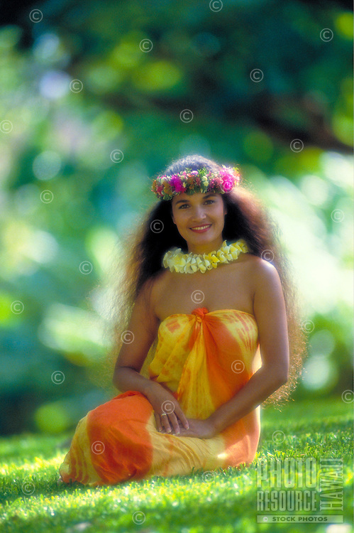 Hawaiian woman in outdoor park setting