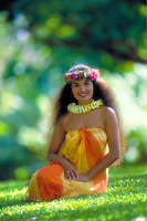 Hawaiian woman in outdoor park setting