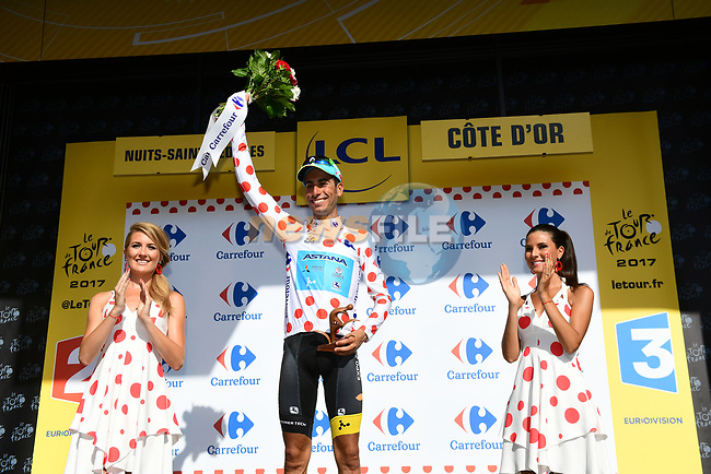 Fabio Aru (ITA) Astana retains the Polka Dot Jersey at the end of Stage 7 of the 104th edition of the Tour de France 2017, running 213.5km from Troyes to Nuits-Saint-Georges, France. 7th July 2017.<br /> Picture: ASO/Alex Broadway | Cyclefile<br /> <br /> <br /> All photos usage must carry mandatory copyright credit (&copy; Cyclefile | ASO/Alex Broadway)