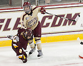 Katie Wilson (UMD - 9), Dru Burns (BC - 7) - The visiting University of Minnesota Duluth Bulldogs defeated the Boston College Eagles 3-2 on Thursday, October 25, 2012, at Kelley Rink in Conte Forum in Chestnut Hill, Massachusetts.