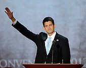 United States Representative Paul Ryan (Republican of Wisconsin), the GOP nominee for Vice President of the United States, waves to the crowd after making remarks at the 2012 Republican National Convention in Tampa Bay, Florida on Wednesday, August 29, 2012.  .Credit: Ron Sachs / CNP.(RESTRICTION: NO New York or New Jersey Newspapers or newspapers within a 75 mile radius of New York City)