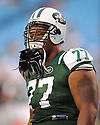 KRIS JENKINS, of the New York Jets in action during the Jets game against the Carolina Panthers  at Bank of America Stadium in Charlotte, N.C.  on August 21, 2010.  The Jets beat the Panthters 9-3 in the second week of preseason games...