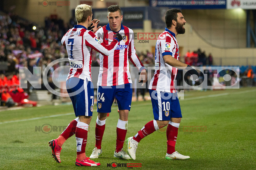 Atletico de Madrid&acute;s Antoine Griezmann, Arda Turan and Gimenez during 2014-15 La Liga match between Atletico de Madrid and Rayo Vallecano at Vicente Calderon stadium in Madrid, Spain. January 24, 2015. (ALTERPHOTOS/Luis Fernandez) /NortePhoto<br />