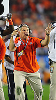 Jan 10, 2011; Glendale, AZ, USA; Auburn Tigers defensive coordinator Ted Roof against the Oregon Ducks during the 2011 BCS National Championship game at University of Phoenix Stadium. The Tigers defeated the Ducks 22-19. Mandatory Credit: Mark J. Rebilas-
