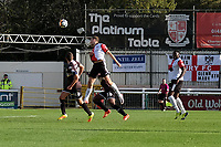 Jamie Philpot (Centre) of Woking scores the first goal for his team with a header during Woking vs Bury, Emirates FA Cup Football at The Laithwaite Community Stadium on 5th November 2017