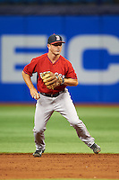 Boston Red Sox Chad De La Guerra (7) during an instructional league game against the Tampa Bay Rays on September 24, 2015 at Tropicana Field in St Petersburg, Florida.  (Mike Janes/Four Seam Images)