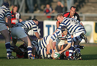 Dungannon replacement scrum half David Spence gets the ball away during the First Trust Senior Cup Final at Ravenhill. Result - Dungannon 27pts Harlequins 10pts.